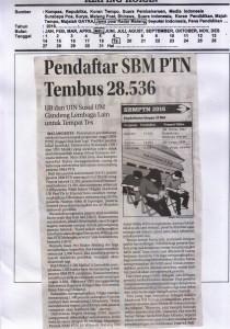 Pendaftaran SBMPTN Tembus 28.536. Jawa Pos Radar Malang, 19 Mei 2016