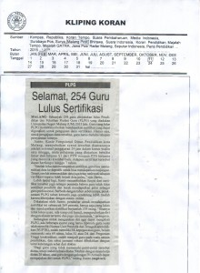 255 Guru Lulus Sertifikasi (Kilping UM, 11-02-2016, Malang Pos)