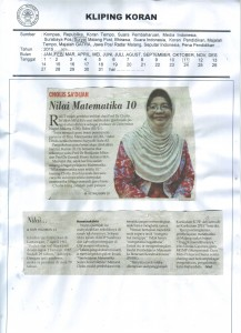 Prof. Cholis Sa'dijah, Nilai Matematika 10. Surya 10/2/16
