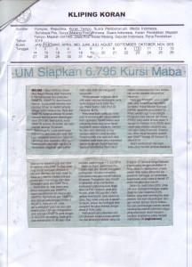 UM Siapkan 6.796 Kursi Maba (10-02-2016, Malang Pos)