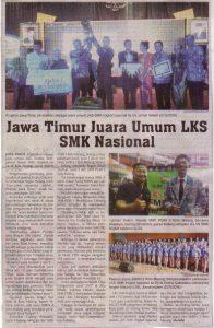 Jawa Timur Juara Umum LKS SMK Nasional. Surya 29 Mei 2016