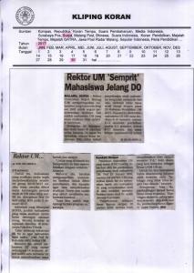 Rektor UM Semprit' Mahasiswa Jelang DO, Surya 30 Januari 2017