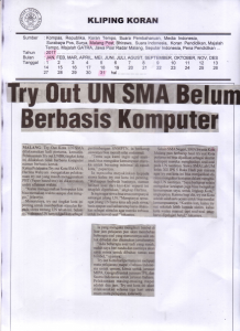 Try Out UN SMA Belum Berbasis Komputer, Malang Post 31 Januari 2017