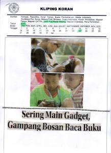 Sering Main Gadget,  Gampang Bosan Baca Buku. Jawa Pos Radar Malang 23 Januari 2017
