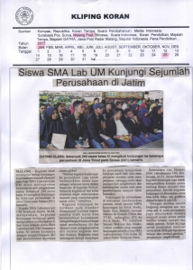 Siswa SMA Lab UM Kunjungi Sejumlah Perusahaan di Jatim. Malang Post 25 Januari 2017