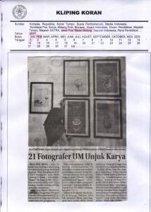 21 Fotografer UM UnjukKarya, Jawa Pos Radar Malang 1 Fe3bruari 2017