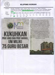 KUKUHKAN PROF ANDI DAN PROF WARAS, UM MILIKI 75 GURU BESAR, Jawa Pos Radar Malang, 28 Februari 2017