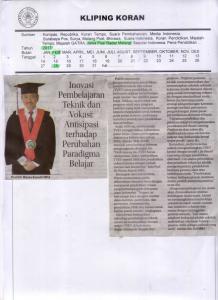 Inovasi Pembelajaran  Teknik dan Vokasi: Antisipasi  terhadap  Perubahan  Paradigma Belajar, Jawa Pos Radar Malang 28 Februari 2017
