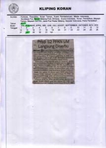 Prodi S2 PPKN UM Langsung Diserbu, Surya 28 Februari 2017