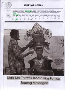 Didik Nini Thowok Bicara Rias Fantasi Topeng Malangan, Malang Post 28 Februari 2017