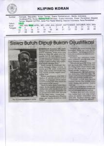 Siswa Butuh Dipuji Bukan Dijustifikasi, Malang Post 1 Maret 2017