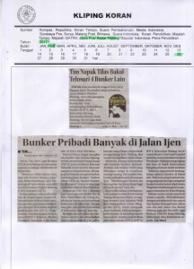 Tim Napak Tilas Bakal Telusuri 4 Bunker Lain, Jawa Pos Radar Malang 26 Februari 2017