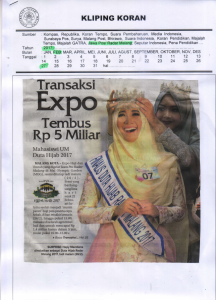 Transaksi Transaksi Expo Tembus Rp 5 Miliar, Jawa Pos Radar Malang 27 Februari 2017