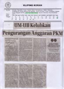 UM-UB Keluhkan Pengurangan Anggaran PKM, Jawa Pos Radar Malang 26 Maret 2017 Hal 26