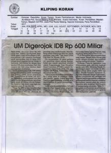 UM Digerojok IDB Rp 600 Miliar, Malang Post 21 Maret 2017