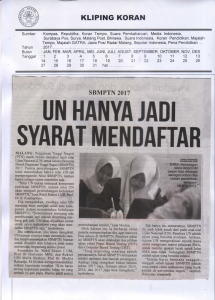 UN HANYA JADI SYARAT MENDAFTAR Malang Post 29 Maret 2017