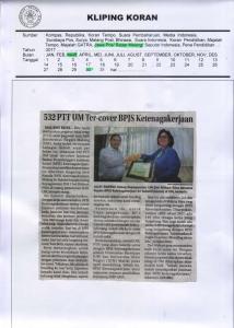 532 PTT UM Ter-cover BPJS Ketenagakerjaan, Jawa Pos Radar Malang 30 Maret 2017