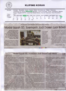 Modal Ijazah SD, Soemantri Jadi Dosen Luar Biasa, Malang Post 13 April 2017