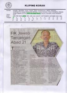 FIK Jawab Tantangan  Abad 21, Jawa Pos Radar Malang 1 April 2017