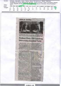 Perkuat Riset, UM Gandeng Universitas Istanbul Turki, Jawa Post Radar Malang 13 April 2017