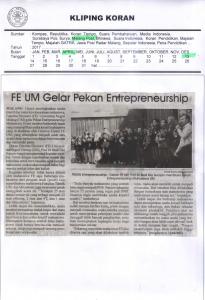 FE UM Gelar Pekan Entrepreneurship, Malang Post 13 April 2017
