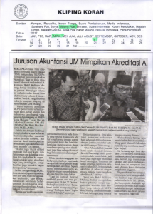Jurusan Akuntansi UM Mimpikan Akreditasi A, Malang Post 8 April 2017