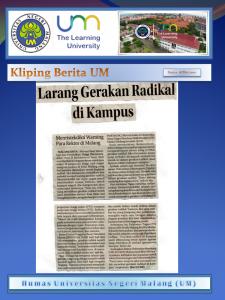 Larang Gerakan Radikal  di Kampus ,Jawa Post Radar Malang 25 Mei 2017