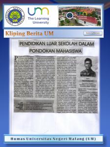 PENDIDIKAN LUAR SEKOLAH DALAM PONDOKAN MAHASISWA, Malang Post 23 Mei 2017