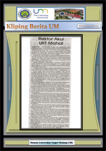 Rektor Akui  UKT Mahal , Malang Post 30 Mei 2017