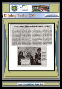Mahasiswa UM Kenalkan Endorse Syariah, Malang Post 30 Mei 2017