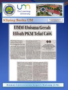 UMM-Unisma Gerah Hibah PKM Telat Cair, Jawa Pos Radar Malang 28 Mei 2017