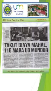 TAKUT BIAYA MAHAL,  115 MABA UB MUNDUR, Malang Post 19 Mei 2017