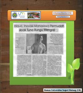 Hiqua, Inoyasi Mahasiswa Permudah  Anak Tuna Rungu Mengaji , Malang Post 18 Juni 2017,,,