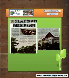 SEDIAKAN 2200 KURSI UNTUK JALUR MANDIRI , Malang Post 22 Juni 2017.