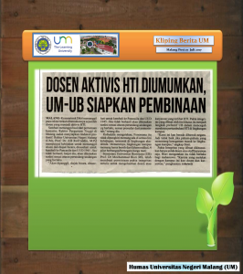 DOSEN AKTIVIS HTI DIUMUMKAN, UM-UB SIAPKAN PEMBINAAN, Malang Post 27  Juli 2017