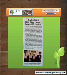 Daftar Nikah Gak Ribet dengan Inovasi Mahasiswa , Malang Post 13 Juli 2017