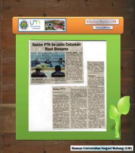 Rektor PTN Se-Jatim Cetuskan Riset Bersama, Surya 19 Juli 2017