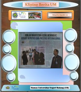JUMLAH MAHASISWA ASING MENINGKAT, GENJ0T REPUTASI DAN PRESTASI INTERNASIONAL, Malang Post 7 September 2017