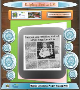 Santriwati yang Prestasinya Nasional,  Dakwah hingga Lintas Kota , Jawa Pos Radar Malang 22 Oktober 2017