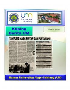 Jalur Mandiri PTN, Malang Post 15 Mei 2018
