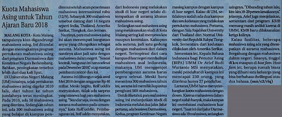 Media Cetak Jawa Pos Radar Malang 14 September 2018