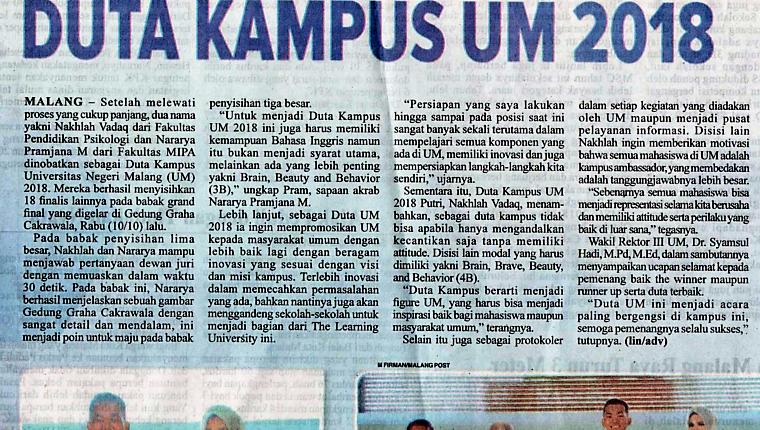 Media Cetak Malang Pos 12 Oktober 2018